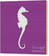 Seahorse In Purple And White Wood Print