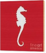 Seahorse In Red And White Wood Print