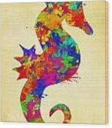 Seahorse Watercolor Art Wood Print