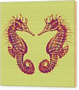 Seahorses In Love Wood Print