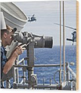 Seaman Apprentice Stands Watch Aboard Wood Print