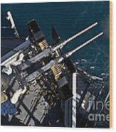 Seaman Fires Twin .50 Caliber Machine Wood Print