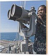 Seaman Stands Lookout Aboard Wood Print
