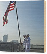 Seamen Participate In Morning Colors Wood Print