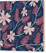 Seamless Floral Pattern Wood Print