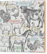 Seamless Pattern With Livestock Wood Print