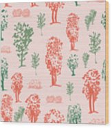 Seamless Tree Pattern, Deciduous Trees Wood Print