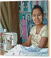 Seamstress At Her Sewing Machine In Tachilek-burma Wood Print