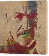 Sean Connery Actor Watercolor Portrait On Worn Distressed Canvas Wood Print