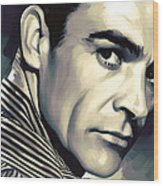 Sean Connery Artwork Wood Print