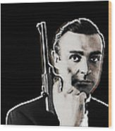 Sean Connery James Bond Vertical Wood Print