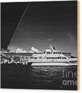 Seaplane Passing Ferry And Dock At Fort Jefferson Dry Tortugas National Park Florida Keys Usa Wood Print