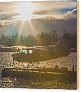 Seaplane Sunset Wood Print