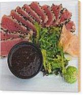 Seared Tuna With Ginger Wood Print