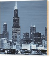 Sears Tower In Blue Wood Print by Sebastian Musial