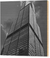 Sears Willis Tower Black And White 01 Wood Print