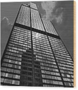 Sears Willis Tower Black And White 02 Wood Print