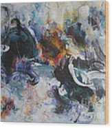 Seascape Abstract Painting Blue Purple Orange Acrylic Painting Wood Print