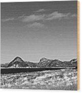 Seascape - Panorama - Black And White Wood Print