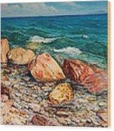 Seascape - Red Rocks  Wood Print