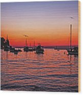 Seascape Silhouette Wood Print