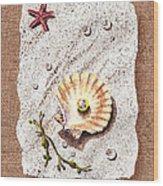 Seashell With The Pearl Sea Star And Seaweed  Wood Print