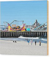 Seaside Casino Pier Wood Print