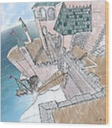 Seaside Castle Wood Print