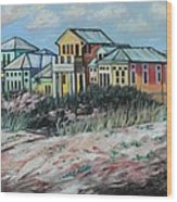 Seaside Cottages Wood Print by Eve  Wheeler