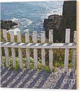 Seaside Fence Wood Print