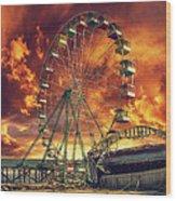Seaside Ferris Wheel Wood Print by Kim Zier