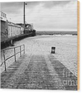 Seaside Heights Beach In Black And White Wood Print by John Rizzuto