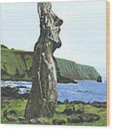 Seaside Moai Wood Print