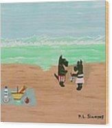 Seaside Scotties Wood Print
