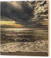 Seaside Sundown With Dramatic Sky Wood Print