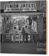 Seaside Union Jacks Wood Print by David Riccardi