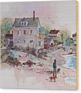 Seaside Village Wood Print by Sherri Crabtree