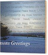 Seasons Greetings Wishes Wood Print