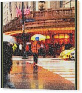 Season's Greetings - Yellow And Blue Umbrella - Holiday And Christmas Card Wood Print