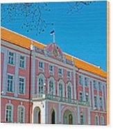 Seat Of Parliament In Old Town Tallinn-estonia Wood Print