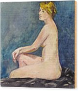 Seated Blond Nude Wood Print