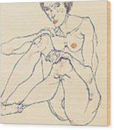 Seated Female Nude Wood Print
