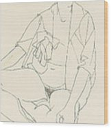 Seated Female Nude With Open Blouse Wood Print
