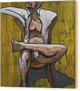Seated Figure With A Monocle Wood Print