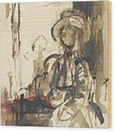 Seated Figure Woman Seated, Wearing Wood Print