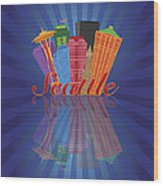 Seattle Abstract Skyline Reflection Background Illustration Wood Print