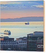 Seattle And Elliott Bay Wood Print