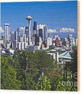 Seattle And Mt. Rainier Wood Print