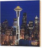 Seattle By Night Wood Print