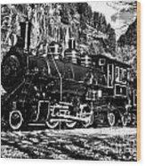 Seattle City Light Train In Bw Wood Print